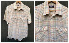 70s Levi's Plaid Shirt Short Sleeve Pearl Snap S/S // | Etsy Fringe Leather Jacket, Tennis Dress, Button Front Dress, Gathered Skirt, Western Dresses, S Man, Plaid Pattern, Vintage Shirts, Flare Skirt