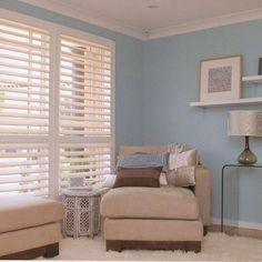 Bring the blue skies in: pretty paint color and white plantation shutters-great combo