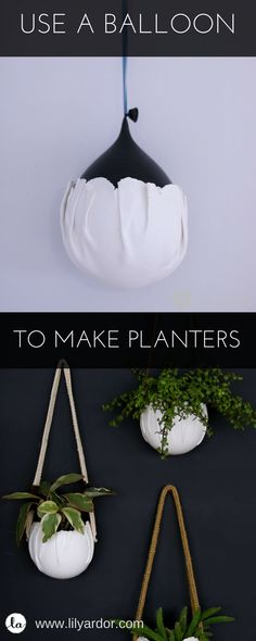 Wrap clay around a balloon to make wall pots! #diy #giftidea #diygift #planter #indoorplants #indoorgardening