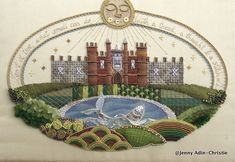 Hampton Court Palace 17th century Raised Embroidery Sampler Brooch by Jenny Adin Christie