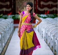 #Colourful : Amazing Bridal Silk Sarees Worn By South Indian Bride – Get Inspired  #Ezwed #BridalSilkSarees #SouthIndianWeddingSarees #WeddingSarees