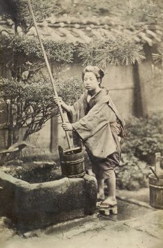 Woman at well. About 1870's, Japan. Image via NationalMuseum of Denmark on Flickr.