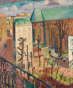 Paysage (le couvent).  Signerad Isaac Grünewald. Olja på duk, 65 x 54 cm.