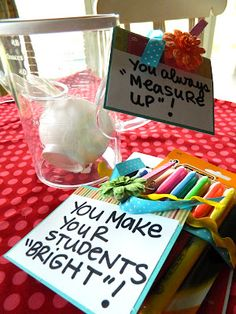 """cute end of the year teacher gifts:  though i like """"you've brightened our year"""" better than """"you make your students bright."""""""