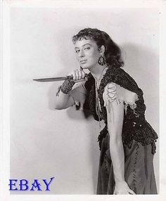 Rita Gam sexy w/knife VINTAGE Photo Sign Of The Pagan