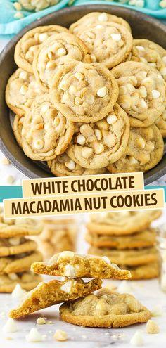Macadamia Nut Cookies, Chocolate Macadamia Nuts, White Chocolate Chips, Chocolate Cookies, Macadamia Nut Recipes, White Chocolate Cookie Recipes, Delicious Desserts, Yummy Food, Tasty