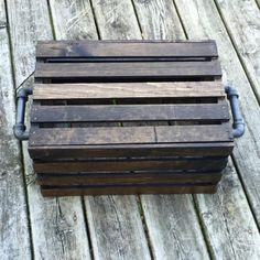 Jacobean stained pallet crate with two black iron handles. #Industrial #EndTable #Rustic