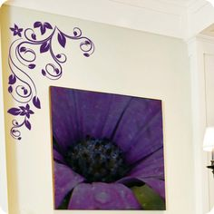 Elegant Swirled Corner with Leaves and Blossoms (wall decal from WallWritten.com).
