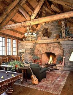 Great inglenook style stone fireplace in a Montana log home designed by Ewing Architects. Log Cabin Living, Log Cabin Homes, Inglenook Fireplace, Fireplace Design, Cabin Fireplace, Brick Fireplaces, Lake Cabins, Cabins And Cottages, Mountain Cabins