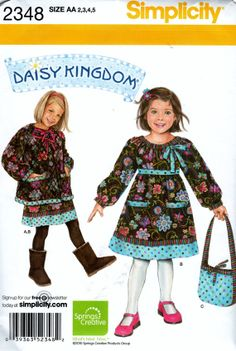 2348 Simplicity Sewing Pattern Child's Girl's Dress Jacket and Bag Daisy Kingdom Size 2,3,4,5