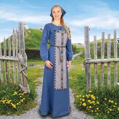 Traditional Blue Cotton Viking Dress - Museum Replicas