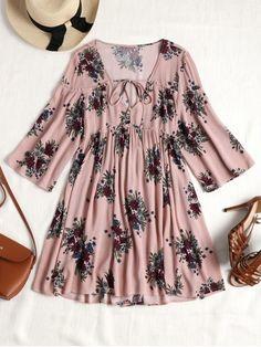 Vestido de túnica frontal com tiras florais - Rosa  #vestido #lookdodia