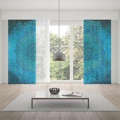 Blue Mandala Window CurtainWindow TreatmentRod Pocket CurtainBohemian CurtainRoom