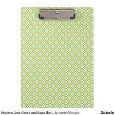 Modern Lime Green and Aqua Ikat Pattern Clipboards