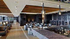 The bar and seating areas at Rajiv Gandhi International Airport Lounge