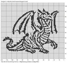Free Filet Crochet Charts and Patterns: Filet Crochet Dragon 1