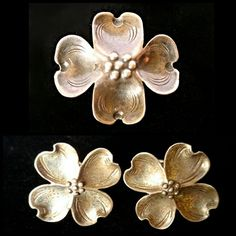 """VINTAGE Handmade Silver Dogwood Brooch & Earrings Beautifully detailed out of sterling silver, these Dogwood flower brooch and earrings are are circa 1940s. The brooch is stamped handmade and sterling and the screwball earrings are stamped sterling. Minor pitting to the earrings. Both have a beautiful patina but I can polish them up if you prefer. The brooch is just over an inch square and the earrings just over 3/4"""" square. Vintage Jewelry"""