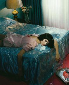 blush dress / aqua satin sheets