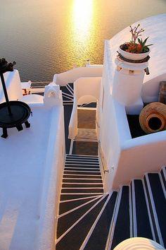 Afternoon steps, Santorini, Greece...