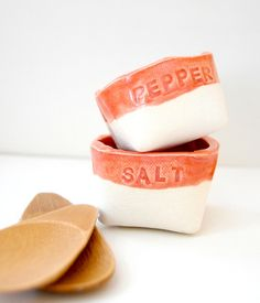 take out Ceramic Salt and Pepper Cellars ripe apricot by alluvial, $28.00