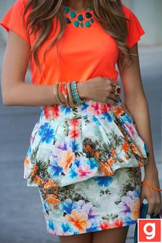 love how the bright orange brings out the colors on the floral skirt 9/23/13