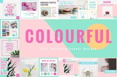 Colorful Social & Blog Media Designs. Create eye-catchy designs for your blog, website, Twitter, Instagram or Facebook, based on a beautiful trendy pastel color palette.This trendy template pack is perfect for bloggers, creative agencies/studios, entrepreneurs or online marketing in general, wedding, affiliate product advertising, personal diary / journal writers and journalists as well as for personal branding. $19 https://crmrkt.com/qVap2K?u=sarahdesign #ad