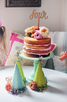 Floral Naked Cake & Party Hats