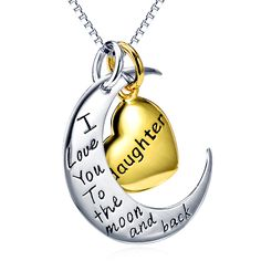 925 Sterling Silver I Love You to The Moon and Back Daughter Necklace – Vanika Jewelry Daughter Necklace, I Love You, My Love, Jewelries, Moon, Necklaces, Personalized Items, Sterling Silver, Harley Davidson