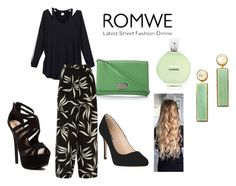 """""""Hollow Back Shirt ROMWE"""" by ashola18 ❤ liked on Polyvore featuring Etro, Red Circle, L.K.Bennett, Kate Spade, Fraiche, Lizzie Fortunato, black, GREEN, Heels and hallowshirt"""
