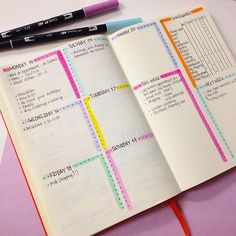 Clean and simple weekly layout planner - layouts bullet journal, bullet . Bullet Journal Inspo, Bullet Journal Notebook, Bullet Journal Junkies, Bullet Journal Spread, Bullet Journal Layout, My Journal, Journal Pages, Bullet Journals, Bujo
