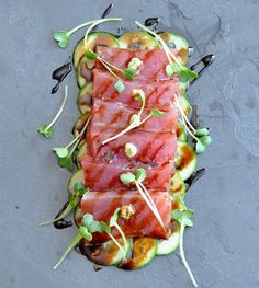 "We can't get over the beautiful presentation of this Ahi Tuna Crudo with Sweet Soy, Wasabi and Cucumber. A simple way to serve sashimi at home! (Pro tip: ""It's all about the quality of the fish, when eating fish raw always select the highest qualit Raw Fish Recipes, Sushi Recipes, Asian Recipes, Cooking Recipes, Healthy Recipes, Fresh Tuna Recipes, Watermelon Recipes, Rice Recipes, Vegetable Recipes"