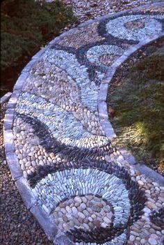 Spiral Stone Patio | Gardens, Mosaic patterns and Mosaics on mosaic terracotta pots, mosaic art designs, mosaic flower gardens, mosaic and stone furniture, mosaic herb garden, mosaic bonsai, mosaic patio designs, mosaic garden bed, mosaic arts and crafts projects, mosaic furniture ideas,