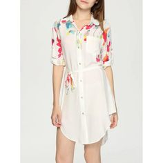 Elegant Long Sleeve Printed Belt Tie Women's Shirt Dress — 18.38 € Size: L Color: WHITE