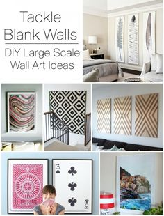 DIY Large Scale Wall Art Ideas. Love the wrapping paper and shower curtain ideas