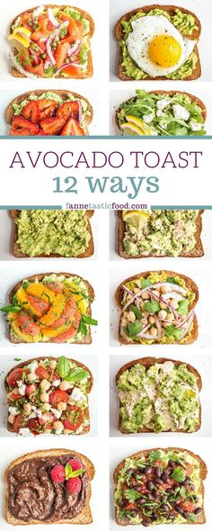 Mix and match avocado toast recipes – includes savory and sweet options. Great filling and healthy breakfast, lunch, or snack! Mix and match avocado toast recipes – includes savory and sweet options. Great filling and healthy breakfast, lunch, or snack! Healthy Breakfast Recipes, Vegetarian Recipes, Cooking Recipes, Healthy Breakfasts, Vegan Avocado Recipes, Simple Avocado Recipes, Healthy Brunch, Avocado Ideas, Healthy Filling Breakfast