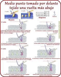 Crochet Diagram, Crochet Motif, Diy Crochet, Crochet Flowers, Crochet Baby, Crochet Bikini, Crochet Symbols, Crochet Stitches Patterns, Stitch Patterns