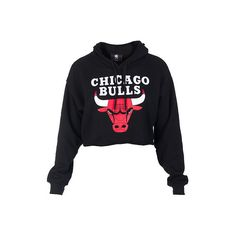 NBA 4 HER BULLS CROPPED HOODIE ($30) ❤ liked on Polyvore featuring tops, hoodies, shirts, sweaters, jackets, hooded sweatshirt, cropped hoodies, long sleeve shirts, hooded pullover and long sleeve cotton shirt