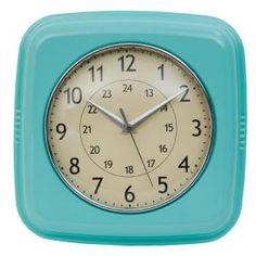 Retro klok metaal Turquoise vierkant - 8717459475458 - Avantius