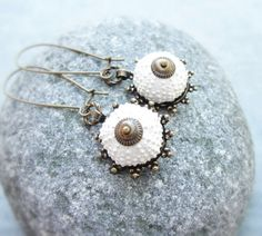 Sea Urchin Collection  Special White Earrings by StaroftheEast, $40.00