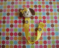 This cute felt puppy Little Ms. Sunshine Pacifier/Binky Clip is super stylish and makes an adorable paci holder.