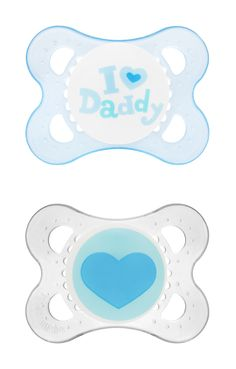 MAM Love & Affection- 0-6 month Pacifiers- Blue and Clear- Lovely, cheerful designs reflect baby's love for daddy!