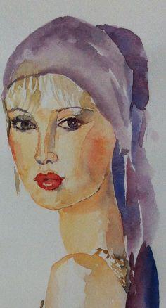 Girl in purple head scarf, watercolour, 2014