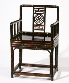 Antique Bamboo Chair | Antique Bamboo Square Arm Chair With Elmwood Seat |  Black Bamboo