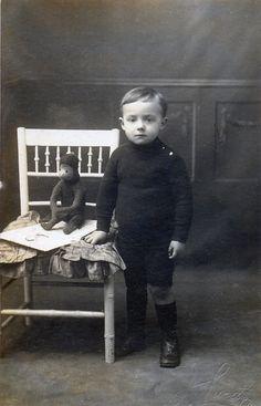 +~+~ Antique Photograph ~+~+   Boy and his adorable monkey.
