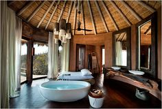 Leobo Private Reserve features a luxury villa located in a nature reserve in the Limpopo Province in northern South Africa. The impressive villa is able to accommodate up to 26 guests, providing an opportunity to enjoy the beauty of wildlife in compl