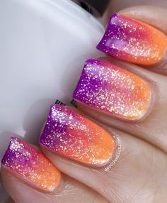 sunset gradient with iridescent glitter