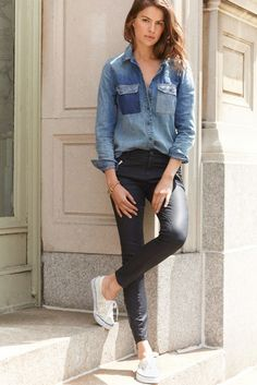 """Pinned from Pinterest user: chicagoinparis From """"Ways to Wear it: Leather Leggings"""" Board. Great fashion tips customized by each article of clothing in your wardrobe."""