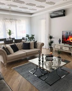 Striking details in neutral colors . We are the guests of a sophisticated house . - Decoration, Room Decoration, Decoration Appartement, Home Decor, Bedroom Decor Living Room Designs, Living Room Decor, Living Spaces, Bedroom Decor, Room Colors, House Colors, Decoration Table, Drawing Room, New Room