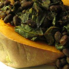 Molasses Black Beans & Greens Stuffed Sweet Potato