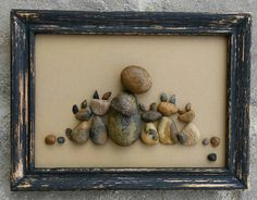 "Pebble Art / Rock Art CRAZY Cat Lady! For all those cat lovers - this one is for you!  Set in a 5x7 ""open"" frame, cats, (Free Shipping)"